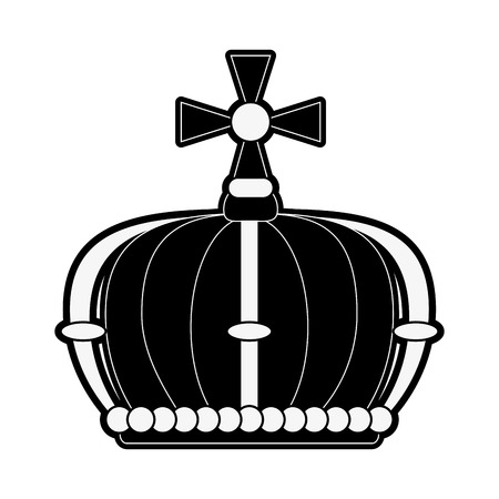 queen crown with cross icon vector illustration graphic design