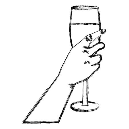 Hand with champagne cup icon vector illustration, graphic design.