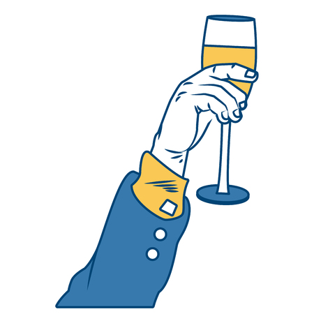 Hand with champagne cup pop art icon vector illustration, graphic design. Stock Illustratie