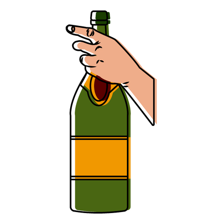 Hand holding a champagne bottle icon. Illustration
