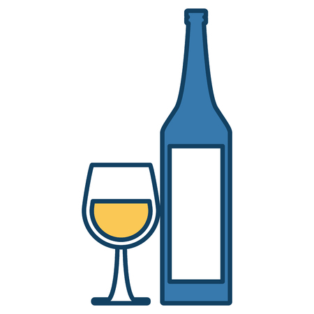 Wine cup and bottle icon vector illustration graphic design Illustration