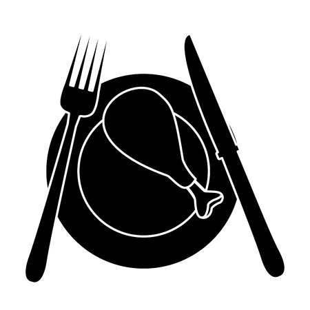 Chicken leg on dish icon vector illustration graphic design