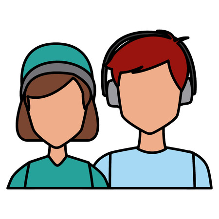 Winter couple avatar icon vector illustration graphic design
