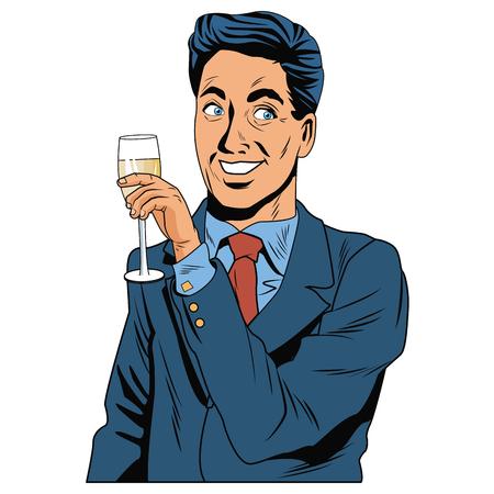 Mens met grafisch ontwerp van de het pop-artpictogram het vectorillustratie van de champagnekop