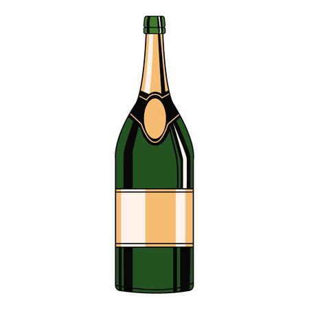Champagne bottle pop art icon vector illustration graphic design