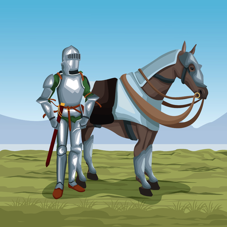 Medieval warrior with horse on battlefield icon vector illustratio ngraphic design