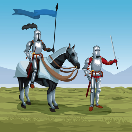 Medieval warriors with horse on battlefield icon vector illustratio ngraphic design Illustration