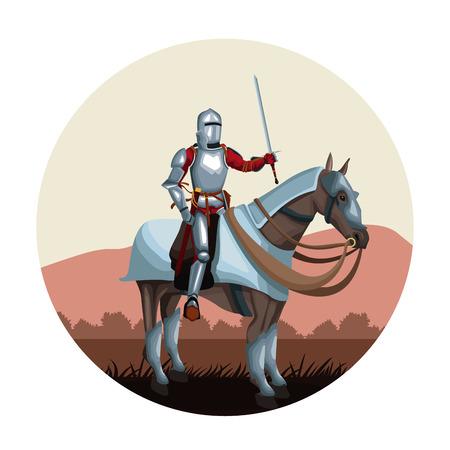 Guerriero medievale con il cavallo icona rotonda icona disegno illustratio ngraphic