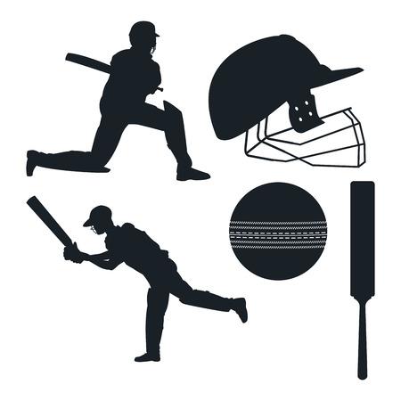 Crickets equipment elements icon vector illustration graphic design
