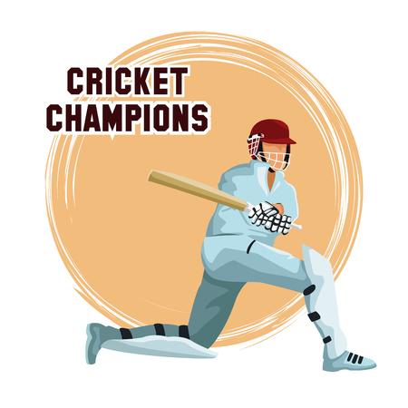 Cricket player cartoon icon vector illustration graphic design