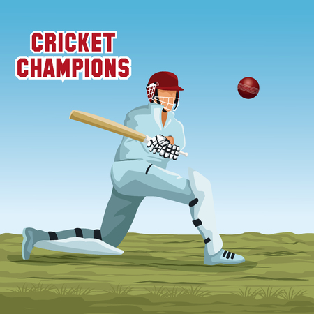 Cricket player cartoon icon vector illustration graphic design
