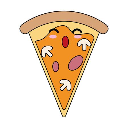 Pizza italian food cute  cartoon vector illustration icon Illustration