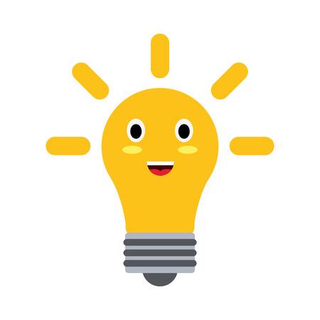 Bulb light energy cute cartoon vector illustration icon