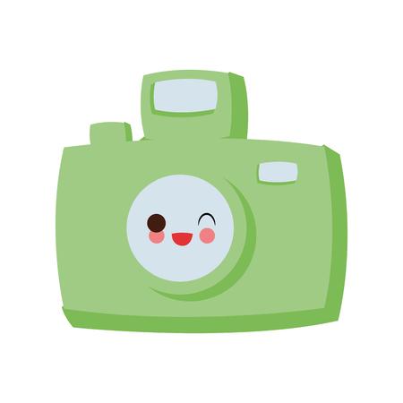 Vintage Photographic camera cute cartoon vector illustration icon