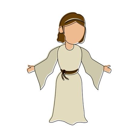 Virgin mary cartoon icon vector illustration graphic design