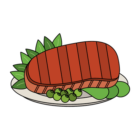 Delicious meat on dish icon vector illustration graphic design