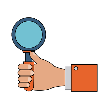 Hand holding magnifying glass icon vector illustration graphic design