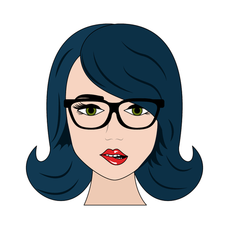 Sexy woman with glasses cartoon icon vector illustration graphic design