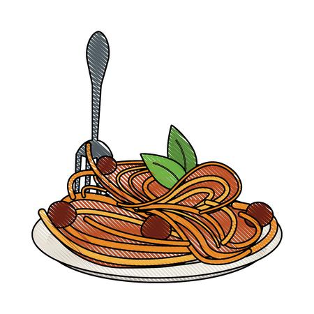 Spaguetti voedsel restaurant pictogram vector illustratie grafisch ontwerp