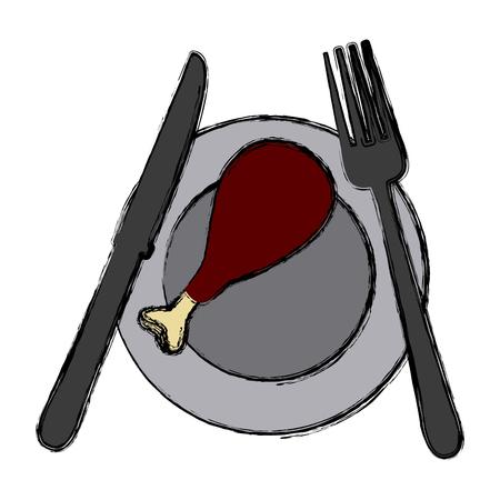 Chicken leg on dish icon vector illustration graphic design