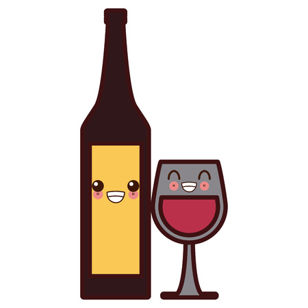 Wine cup and bottle cute cartoon vector illustration