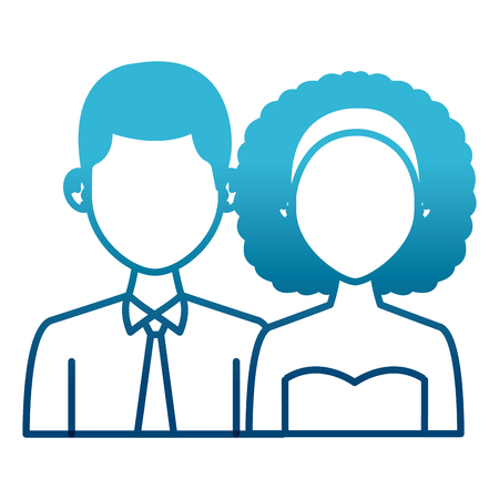 Elegant couple avatar cartoon icon vector illustration graphic design