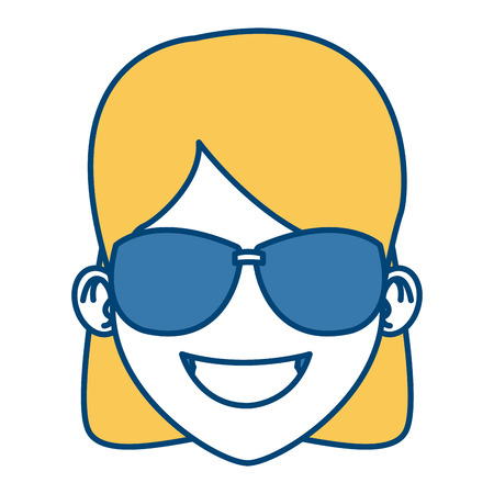 Woman with sunglasses cartoon icon vector illustration graphic design