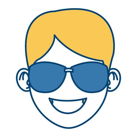 Man with sunglasses face icon vector illustration graphic design