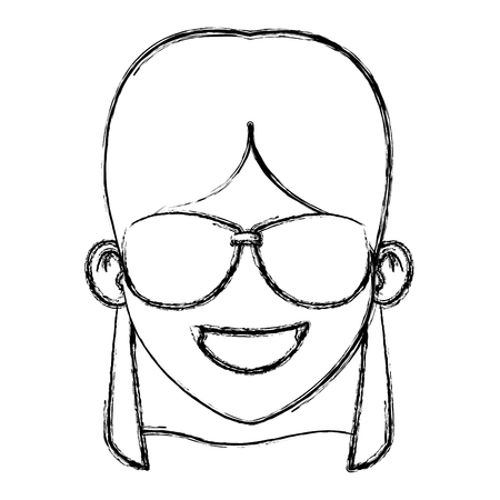 Woman with sunglasses cartoon icon vector illustration graphic design