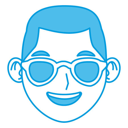 Man with sunglasses face icon vector illustration graphic design