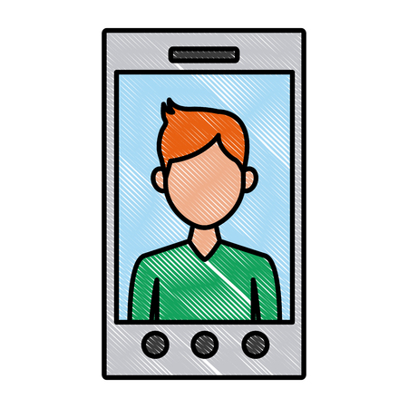 Smartphone video call technology icon vector illustration graphic design