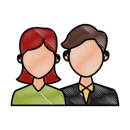 Elegant couple avatar cartoon icon vector illustration graphic design