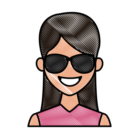 Young fashion woman with sunglasses cartoon icon vector illustration graphic design Vettoriali