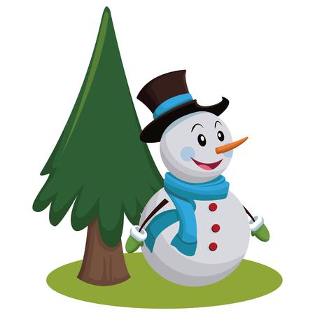 Snowman, christmas cartoon icon, vector illustration, graphic design