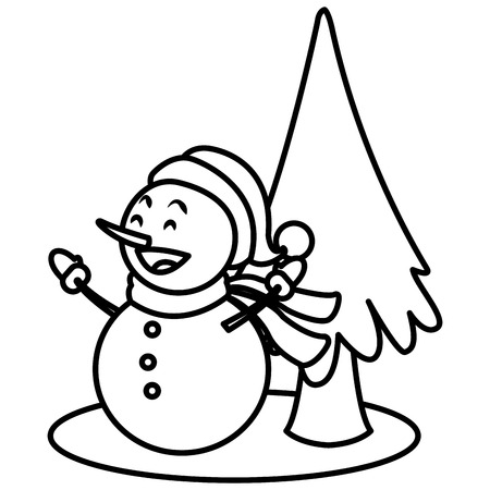 Snowman christmas cartoon icon vector illustration graphic design