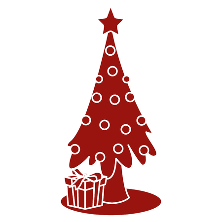 Christmas tree with giftboxes icon vector illustration graphic design Illustration