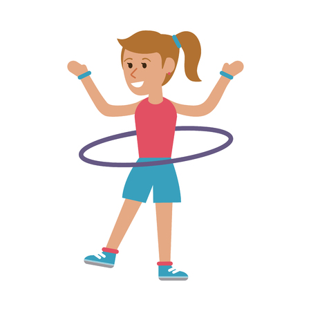 Woman with hula hoop cartoon icon vector illustration graphic design