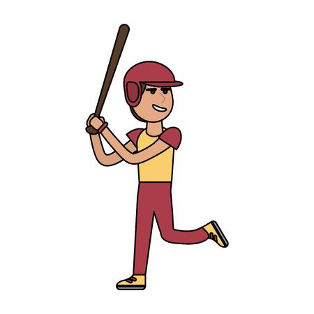 Man playing baseball cartoon icon vector illustration graphic design