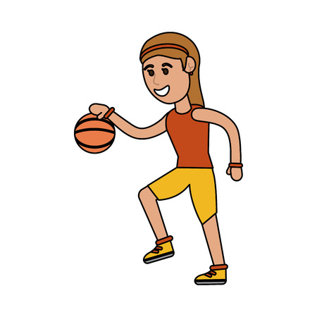 Woman playing basketball icon illustration graphic design. Vectores