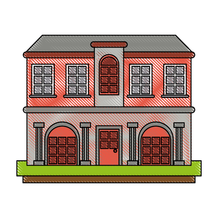 Mansion with columns icon illustration graphic design. Illustration