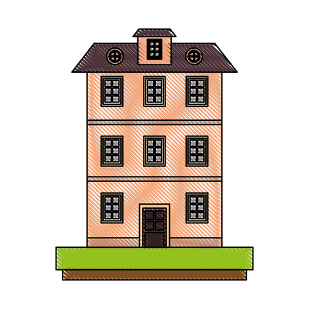 Old apartments tower building icon illustration graphic design.