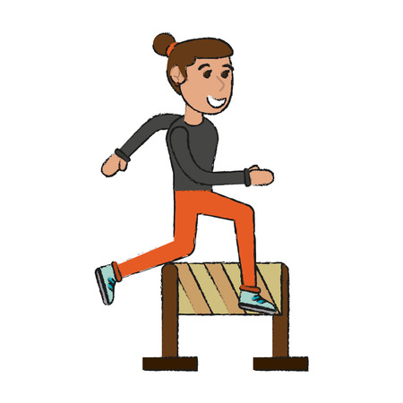 Woman jumping a barrier cartoon icon vector illustration graphic design