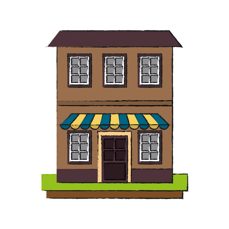 old apartments tower building icon vector illustration graphic design  イラスト・ベクター素材