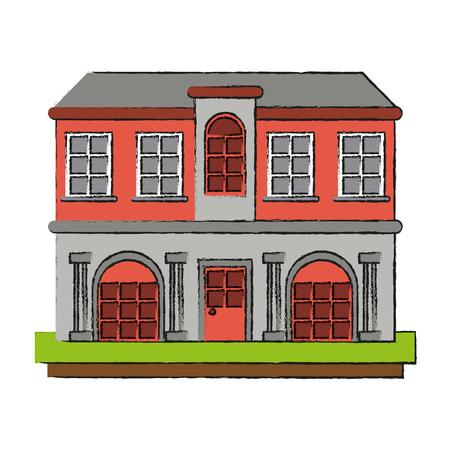 mansion with columns icon vector illustration graphic design