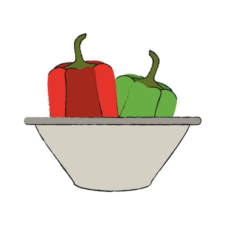 Peppers in dish icon vector illustration graphic design