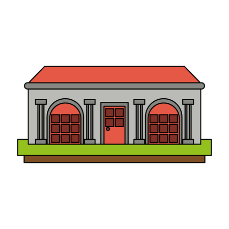 mansion with columns icon vector illustration graphic design
