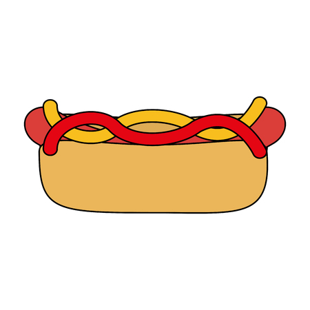 Hot dog fast food icon vector illustration graphic design