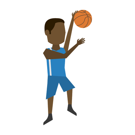 Male basketball player cartoon icon vector illustration graphic design Vectores