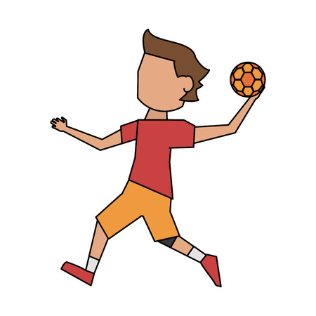 Handball player cartoon icon vector illustration graphic design
