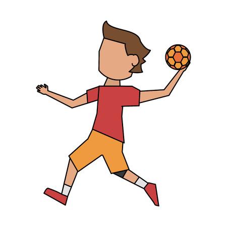 Handball player cartoon icon vector illustration graphic design